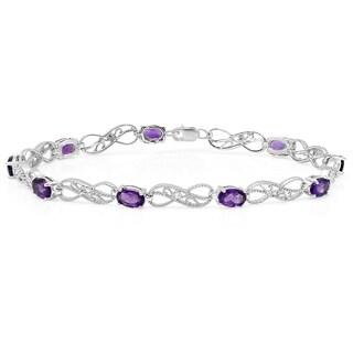 Sterling Silver 3 7/8 ct. Oval Amethyst & Round White Diamond Link Tennis Bracelet (I-J, I2-I3)