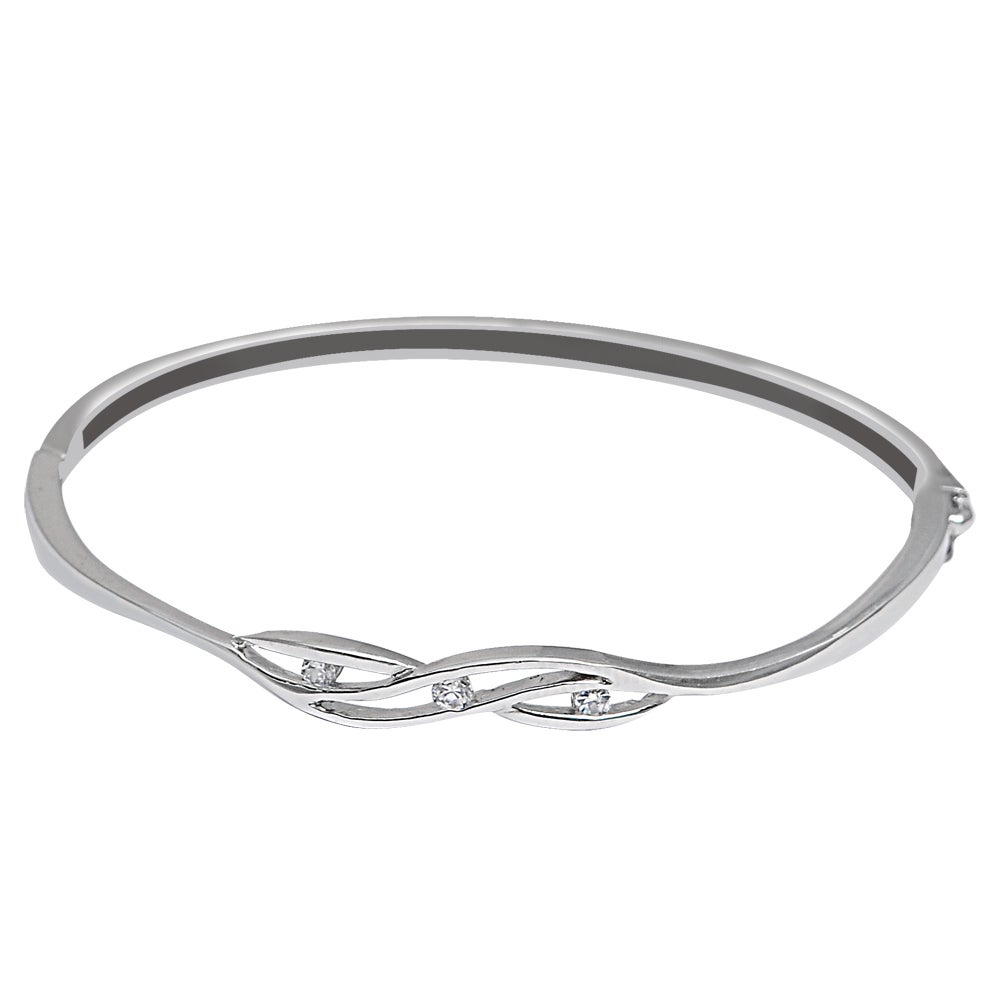 Orchid Jewelry 925 Sterling Silver Cubic Zirconia Bangle ...