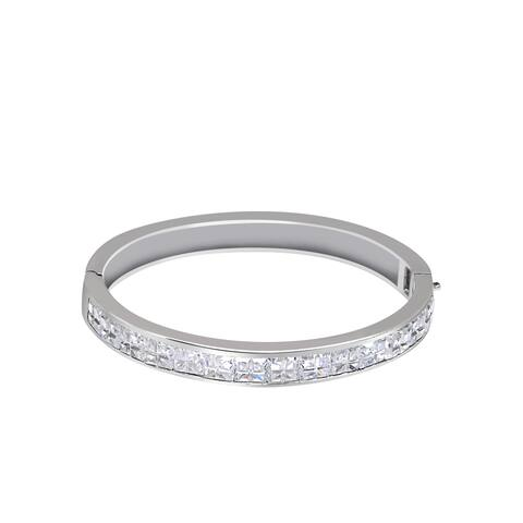 Cubic Zirconia Sterling Silver Square Bangle Bracelet by Orchid Jewelry