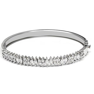 Orchid Jewelry 925 Sterling Silver Cubic Zirconia Bridal Bangle For Women