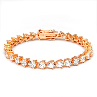 Orchid Jewelry Rose Gold Over Sterling Silver Cubic Zirconia Tennis Bracelet
