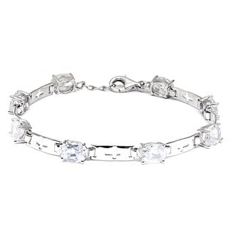 Cubic Zirconia Sterling Silver Oval Link Bracelet by Orchid Jewelry
