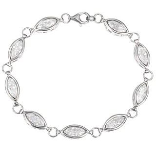 Orchid Jewelry 925 Sterling Silver Cubic Zirconia Bezel Set Bracelet