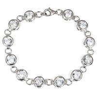 Orchid Jewelry 925 Sterling Silver Cubic Zirconia Fashion Bracelet