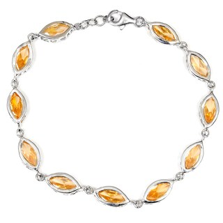 Orchid Jewelry 925 Sterling Silver Cubic Zirconia Bezel Link Bracelet