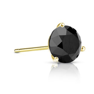 Auriya 14k Gold 3/4ct TDW 3-Prong Push-Back Round Cut Black Diamond Single Stud Earring