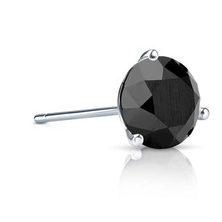 Auriya 14k Gold 1ct TDW 3-Prong Push-Back Round Cut Black Diamond Single Stud Earring