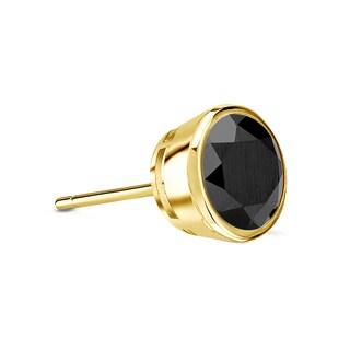 Auriya 14k Gold 1/3ct TDW Bezel Push-Back Round Cut Black Diamond Single Stud Earring
