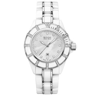Bulova Accu Swiss Women's 65R154 Swiss Made White Ceramic Watch with 51 Diamonds