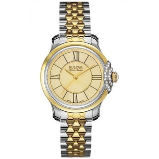 Bulova Accu Swiss Women's 65R159 Swiss Made Two Tone Watch with 30 Diamonds