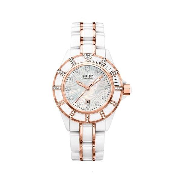 Bulova Accu Swiss Women's 65R155 Swiss Made White Ceramic Watch with 51 Diamonds