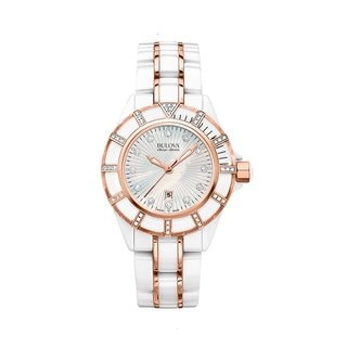 Bulova Accu Swiss Women's 65R155 Swiss Made White Ceramic Watch with 51 Diamonds