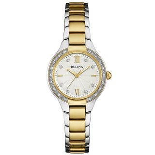 Bulova Women's 98R221 Two Tone Stainless Steel and Diamond Watch with Luminous Hands