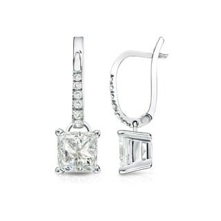 Auriya 14k Gold 1 3/4ct TDW Princess Cut Diamond Dangle Earrings (J-K, I1-I2)