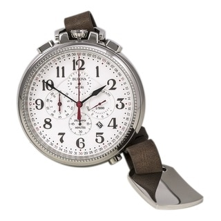 Bulova Men's 96B249 Stainless Steel 56mm Diameter Chronograph Pocket  Watch