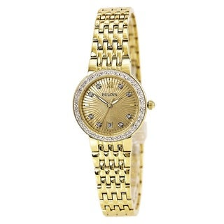 Bulova Women's 98R212 Gold Tone Stainless Steel and Diamond Watch with a Date at 6:00 o'clock
