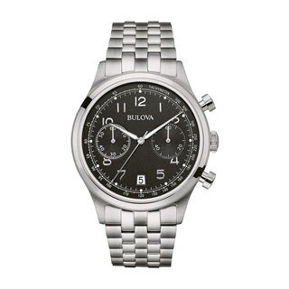 Bulova Men's 96B234 Stainless Steel Black Dial Chronograph Watch with a Date Window.