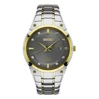 Seiko Men's  Two Tone Stainless Steel and Diamond Solar Watch with a Date Window