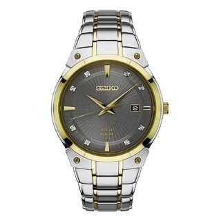 Seiko Men's SNE430 Two Tone Stainless Steel and Diamond Solar Watch with a Date Window