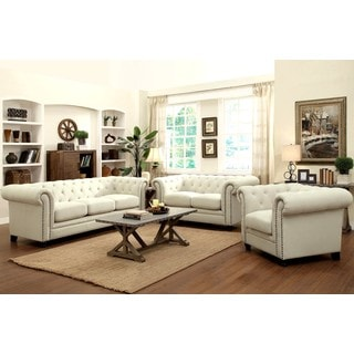 Royal Mid-Century Living Room Collection with Tufted Design and Nailhead Trim