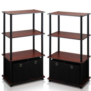 Furinno Go Green Beige and Brown Composite Wood and PVC Tubes 4-tier Multipurpose Storage Shelves (Set of 2)