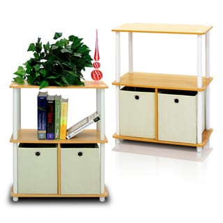 Furinno Go Green Cherry and Beige Wood and Plastic 3-tier 2-bin Multipurpose Storage Shelf (Set of 2)