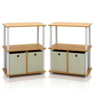 Furinno Go Green Cherry and Beige Wood and Plastic 3-tier 2-bin Multipurpose Storage Shelf (Set of 2)
