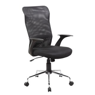 Black Wood, Metal and Plastic High-back Swivel Executive Office Chair