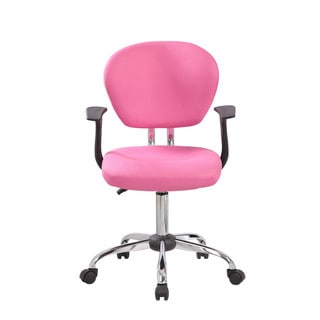 1008F-BK Black/Pink Chrome/Fabric/Plastic Mid-back Adjustable Task Chair with Arms and Chrome Base