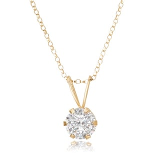 Avanti 14K Yellow Gold 1.0 CT TGW Round Cubic Zirconia Solitaire Pendant Necklace