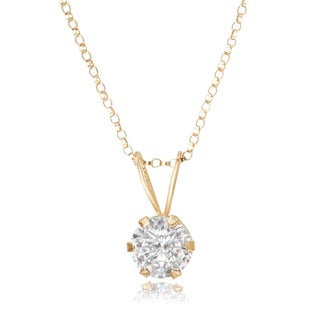 Avanti 14K Yellow Gold 2.0 CT TGW Round Cubic Zirconia Solitaire Pendant Necklace