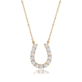Avanti 14K Yellow Gold 1.3 CT TGW Round Cubic Zirconia Lucky Horseshoew Necklace