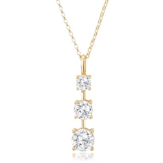 Avanti 14K Yellow Gold 1.5 CT TGW Round Cubic Zirconia Three Stone Pendant Necklace