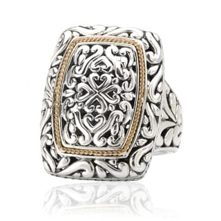 Avanti Sterling Silver and 18K Yellow Gold Rectangular Swirl Design Ring