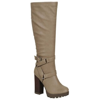 Breckelle Women's Ankle-strap Block-heel Knee-high Boots