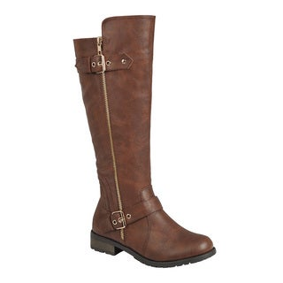 Forever Women's GF04 Buckle Straps Zip-up Under Knee-high Riding Boots