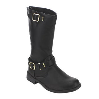 FOREVER GE28 Women's Faux Leather Buckle Strap Low-heel Under Knee-high Riding Boots