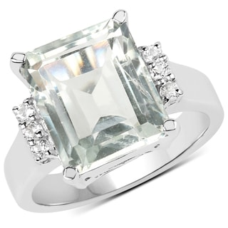 Malaika 0.925 Sterling Silver 5.54-carat Genuine Green Amethyst and White Topaz Ring