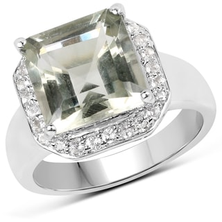 Malaika Sterling Silver 4.52-carat Genuine Green Amethyst and White Topaz Ring