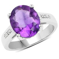 Malaika Sterling Silver 3.84-carat Genuine Amethyst and White Topaz Ring