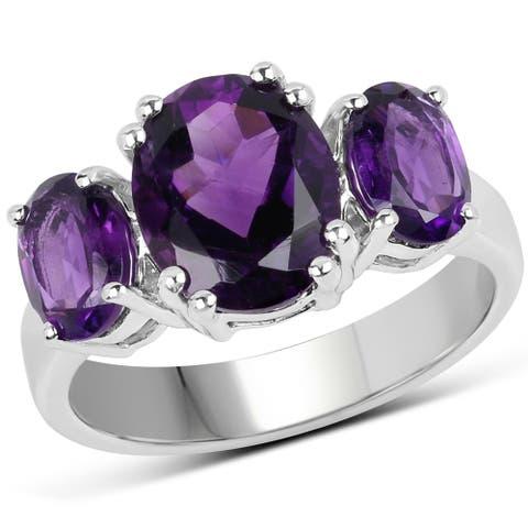 Malaika Sterling Silver 3.8-carat Genuine Amethyst Ring