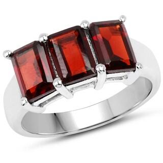 Malaika 3.60-carat Genuine Garnet .925 Sterling Silver Ring