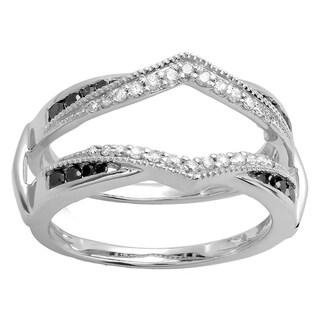 Elora 14k Gold 1/2ct TDW Black and White Diamond Double Guard Wedding Ring Enhancer (H-I, I1-I2)