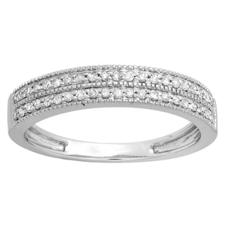 10k Gold 1/4ct TDW Diamond Double Row Millgrain Anniversary Wedding Band (H-I, I1-I2)