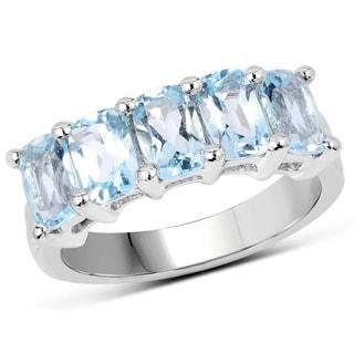 Malaika Women's .925 Sterling Silver 3-carat Genuine Blue Topaz Ring