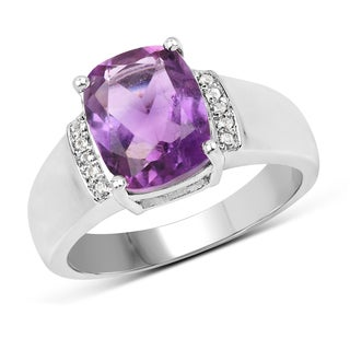 Malaika 0.925 Sterling-silver 2.65-carat Genuine Amethyst and White Topaz Ring