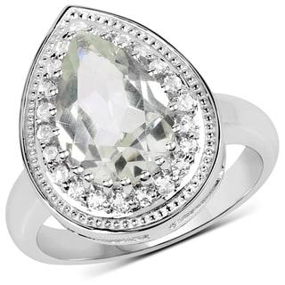 Malaika 0.925 Sterling-silver 2.74-carat Genuine Green Amethyst/White Topaz Ring