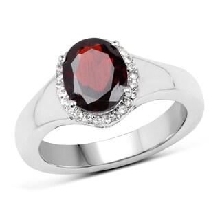 Malaika Sterling Silver 2.63-carat Genuine Garnet and White Topaz Ring