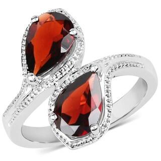 Malaika 0.925 Sterling Silver 2.60-carat Genuine Garnet Ring