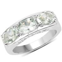 Malaika Sterling Silver Green Amethyst Ring